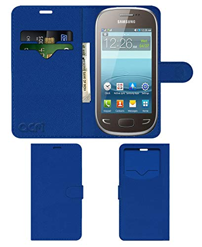 Acm Leather Window Flip Wallet Front & Back Case Compatible with Samsung Rex 90 S5292 Mobile Cover Blue