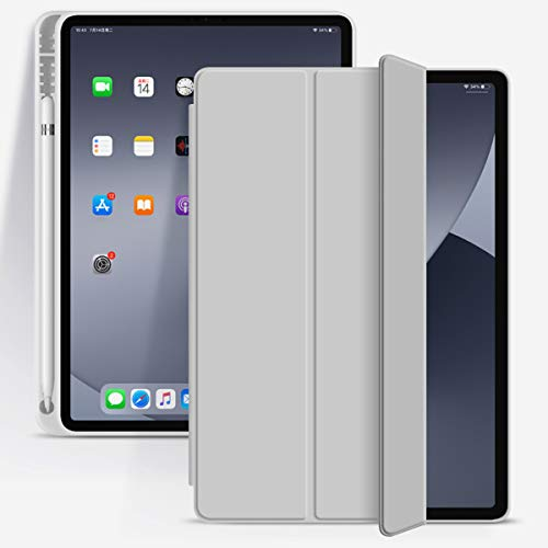 KenKe for iPad Pro 11 Inch 2020 Case with Pencil Holder, Lightweight and Ultra-Thin Silicone Soft Smart Case Auto Sleep/Wake, Trifold Stand Cover iPad Pro 11 Case 2020 & 2018 Release - Gray