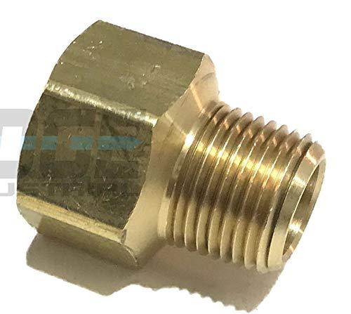 Edge Industrial Brass Pipe Adapter 1/2' Fnpt x 3/8' Mnpt Fuel / AIR/ Water / Oil/ Gas Wog