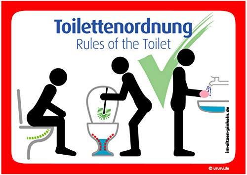 immi 4x Toilettenordnung Sitzen pinkeln, Klobürste, Hände waschen, Kloordnung