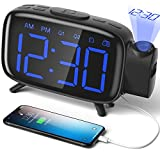 ELEHOT Despertador Digital Proyector Radio Despertador Reloj de Proyección Pantalla LCD Azul y Volumen Ajustable 7 Tonos Función de Radio