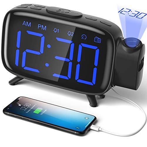 Sveglia Digitale da Comodino Radiosveglia con Proiettore Scrivania Scaffale 4 Livelli Luminosità Proiezione Regolabile 180° 7 Allarmi Snooze Radio FM USB con Adattatore