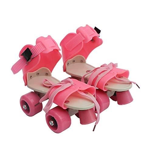 VORCOOL Kinder Vier Räder Rollschuhe Einstellbare Geschwindigkeit Quad Roller Skates Schuhe Größe 25-32 (Pink)