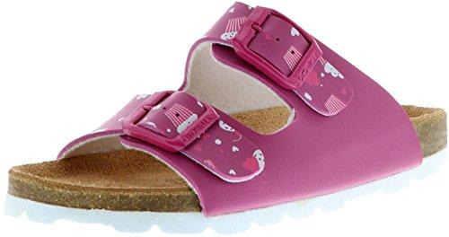 ÖkoWalk Kinder Mädchen Pantoletten Cupcake pink/Fuchsia, Farbe:Pink, Größe:34
