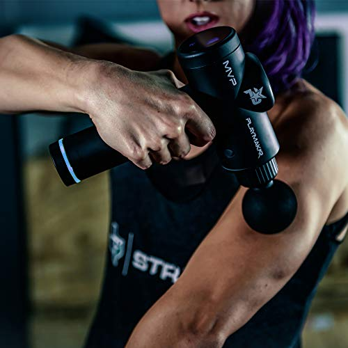 Massage Gun Personal Percussion & Vibration Handheld Massager Masajeador de pistola de masaje by PlayMakar Deep Muscle Tissue Quiet Wireless Device for Pain Relief & Recovery 6 Speed Rechargeable