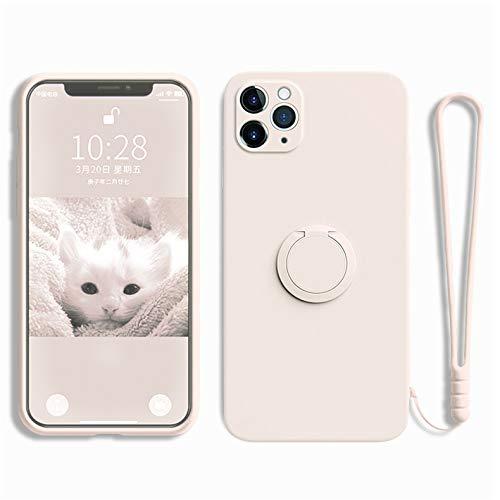 Jacyren Hülle iPhone 12 Pro Max Handyhülle iPhone 12 Pro Schutzhülle, iPhone 12Mini Superdünnes TPU Silikon Schale,magnetische KFZ-Halterung 360-Grad Finger-Halter.für iPhone 12 Pro Max, Elfenbein