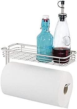 iDesign Classico Steel Wall Mounted Paper Towel Holder with Shelf