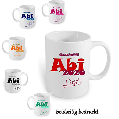 ABI Geschenk 2020 Handmade ~AA311~ Tasse Kaffeebecher Kaffee mit Namen bedruckt Namentasse personalisiert mit Wunschnamen Geschenk zum Abitur VIELE FARBEN