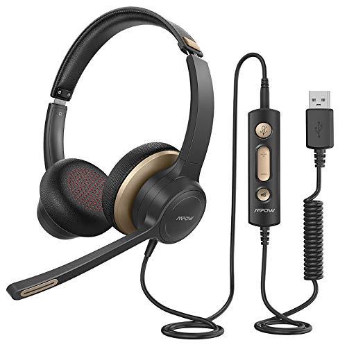 Mpow Computer Headset, USB-Headset / 3,5-mm Phone-Headset mit Mikrofon, Business Leicht Headset mit Rauschunterdrückungs-Soundkarte, Inline-Steuerung für Skype, Webinar, PC, Handy (U-Scharz+Gelb)