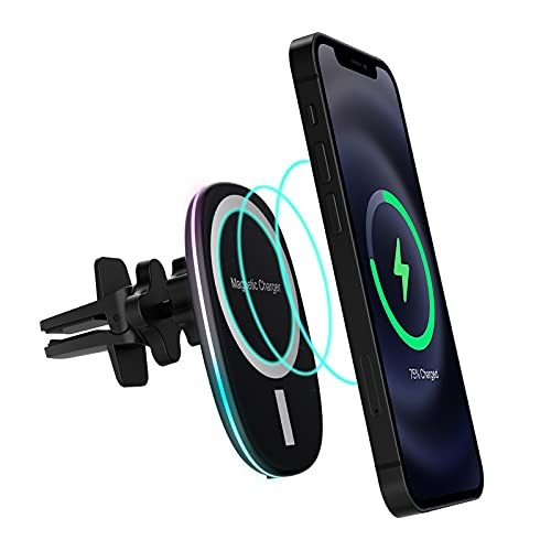 HATALKIN Mag Safe Autohalterung Kompatibel mit iPhone 13/12/Pro/Pro Max/Mini Mag-Safe Auto Ladegerät iPhone 12/13 Autohalterung Magsafe Kfz Halterung Magnetisches 15W mit RGB-Licht(Schwarz)