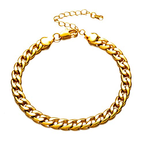 """kelistom 18K Gold/Silver Plated Cuban Link Flat Chain Anklet for Women Men, 7mm Wide Curb Chain Ankle Bracelet with 2"""" Extension"""