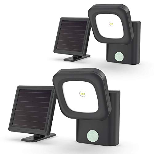 Solar Powered Security Lights Motion Sensor Outdoor Waterproof LED Flood Light with Adjustable Head Upgraded Illumination for Front Door, Garden and Porch, 2-Pack