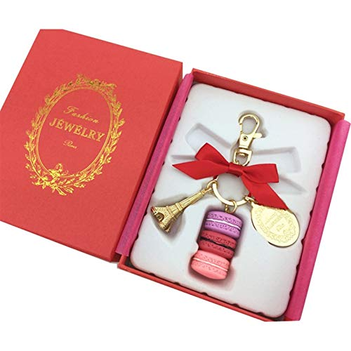 Keychain Macarons Ribbon Woman Luxury Macarons Cake Keychain on Bag Charm Handbag Charms Car Keychain Gift Box (Color : A red ribbon)