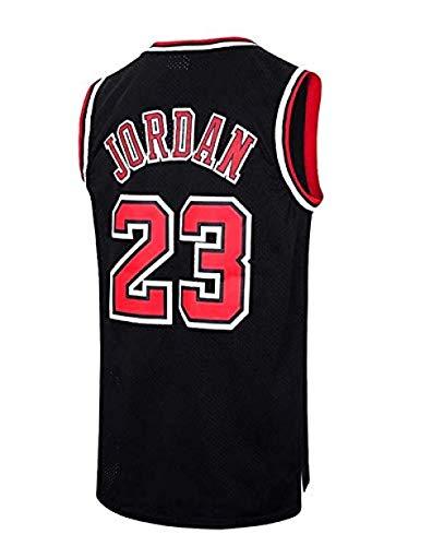 ODML NBA Michael Jordan, NO.23 Bulls Retro, Camiseta de Jugador de Básquetbol, Bordado Transpirable y Resistente al Desgaste, Camiseta de Fan de Hombres@黑色_M(175cm/65-75kg)