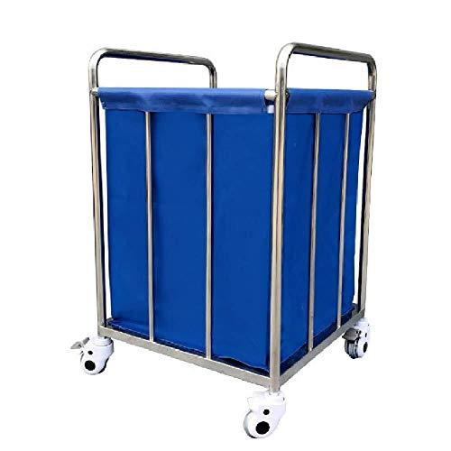Wasserij sorteren car Wasserij Sorter winkelwagen Heavy Duty for vuile kleren opslag, Commercieel wasmand Trolley op wielen Dienst rolwagen (Color : Blue, Size : 55x55x88cm)