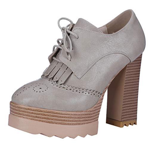 LUXMAX Damen Schnür High Heels mit Blockabsatz Plateau Pumps Fransen 10cm Absatz Schuhe