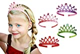 Princess Tiara Crown Rhinestone Glitter Sparkle Non slip Headband Birthday Party Supplies Favors Dress up Set (4-pack) for Little Girls Kids Children Teens Adults by Witty Pretty Pink Purple Green Red