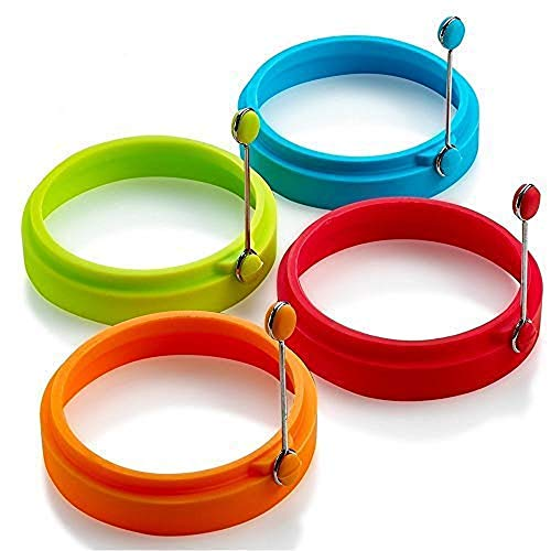 Silicone Egg Ring, Egg Rings Non Stick, Egg Cooking Rings, Perfect Fried Egg Mold or Pancake Rings (New,4pcs)