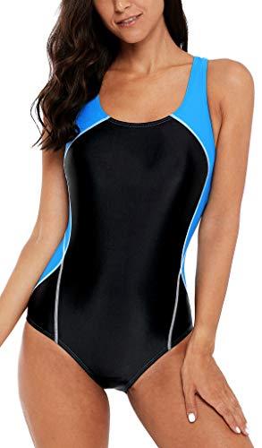 belamo Women's Athletic Racerback one Piece Swimwear Training Swimsuit Bathing Suit