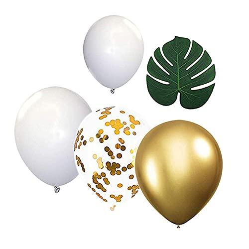 Harilla 12 Pulgadas Blanco Oro Fiesta Globos Garland Kit Confeti Globos con Cinta para Boda Compromiso propuesta Feliz cumpleaños Fondo Decoraciones