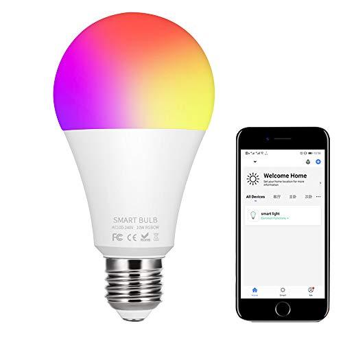 Lemonmax Bombilla WiFi E27, bombilla inteligente LED 10W (80W equivalente) 900LM RGBCW Colabora con Alexa/Google Home Assistant/IFTTT, regulable 1% a 100%, función de temporización