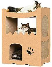 【RAKU】猫用爪とぎ キャットハウス キャットタワー ダンボールハウス 爪とぎ兼ベッド 猫箱 二層 組み立て式 高密度段ボール 収納簡単 ストレス解消 通気