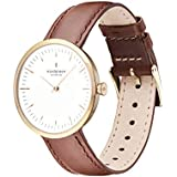 Nordgreen Infinity Scandinavian Gold Unisex Analog 32mm (Small) Watch with Dark Brown Leather Strap 10026