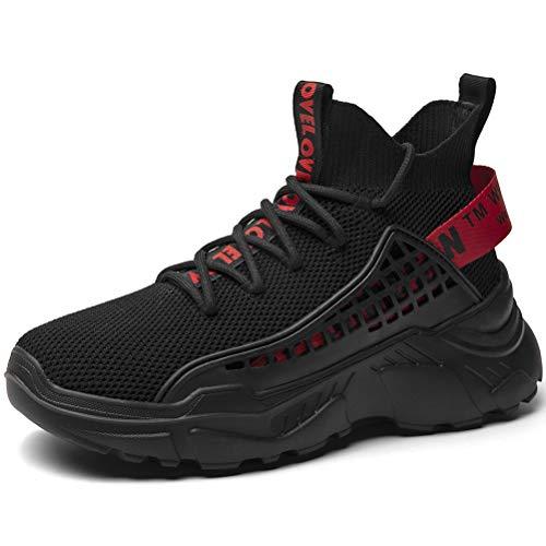 SANNAX Mens Fashion Sneakers Walking Shoes Sports Shoe Vogue Stylish Athletic Walking Running Shoes Casual Sneaker Black
