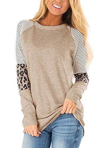 OMZIN Damen Casual T-Shirt Einfarbig Vintage Freizeitshirt mit Leopard Patchwork Bluse Beige M