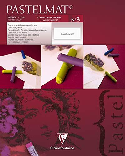 Clairefontaine 96028C - Un bloc encollé papier Pastelmat 12 feuilles 24x30 cm 360g, Blanc