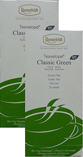 Ronnefeldt-Teavelope -2er Pack- Classic Green - BIO - Grüner Tee - 2x25x1,5g Teebtl.
