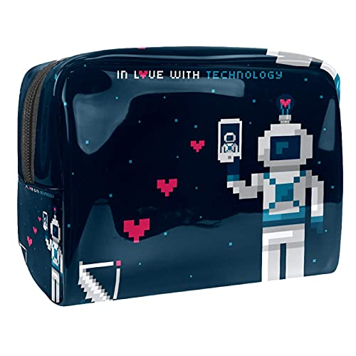 Damen und Mädchen lustige PVC-Make-up-Tasche Pixel-Roboter-Liebe geräumige Kosmetiktasche Beutel Handtasche Handtasche mit Reißverschluss 7,3 x 3 x 5,1 Zoll