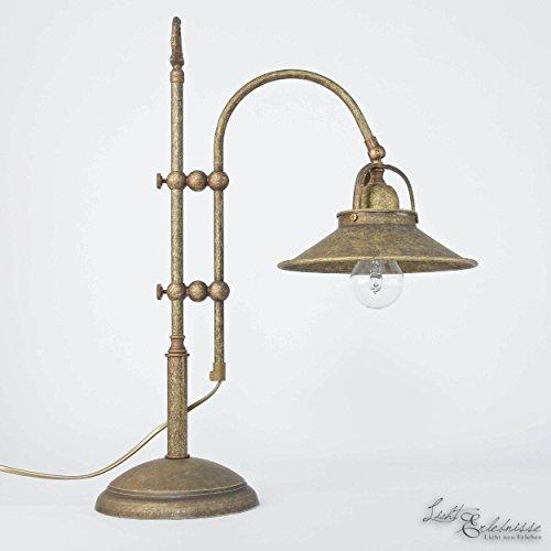 Tischlampe Antik Bronze Echt-Messing Industrie Vintage Handarbeit Premium Tischleuchte Beistelltisch Nachttisch