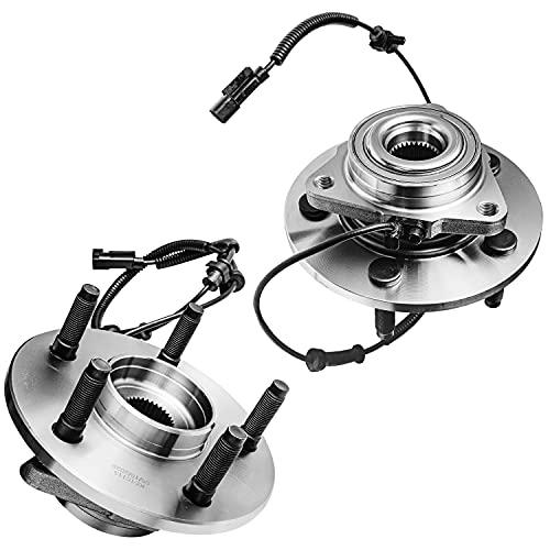 Detroit Axle - 4-Wheel ABS 5-Lug Front Wheel Hub Bearing Assembly for 2006-2008 Dodge Ram 1500-2pc Set