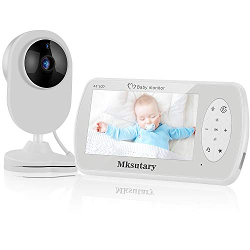 Babyphone Video Caméra sans-fil, Ecoute-Bébé Camera 1080P avec 4.3' Ecran LCD, Audio Bidirectionnel, Vision Nocturne, Capteur de Température, Berceuses