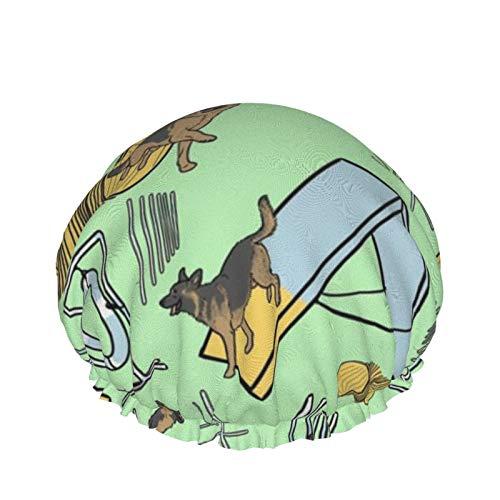 Gorro de ducha de doble capa impermeable para mujer, gorro de baño turbante de sauna (simple pastor alemán agilidad perros verde)