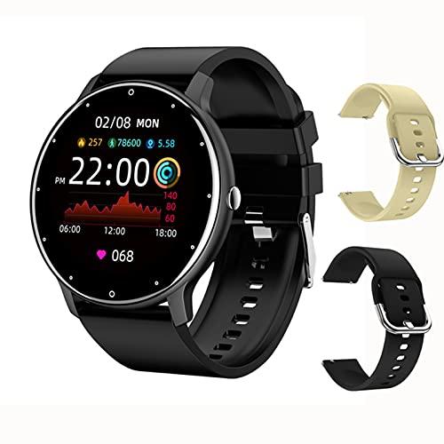 ACY Reloj inteligente de moda para mujer y hombre, ejercicio de ritmo cardíaco, presión arterial, rastreador de fitness, impermeable, para iOS Android, J