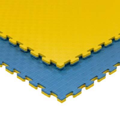 JOWY Estructura Tatami Puzzle para Gimnasio Artes Marciales Judo | Suelo Tatami Profesional 25mm Color Amarillo y Azul Reversible Acabado 5 Líneas