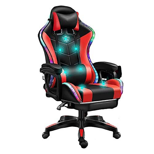 Luces LED Sillas Gaming Ergonómica, Racing Silla de Escritorio de Oficina Gamer Regulable, Silla Giratoria de Oficina con...