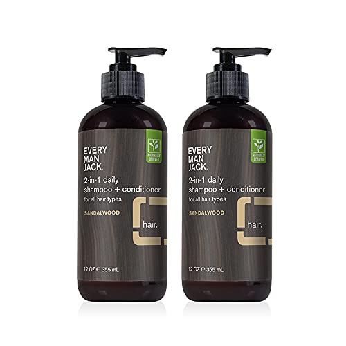 Every Man Jack 2-in-1 Daily Shampoo + Conditioner - Sandelholz   pflegend für alle Haartypen, natürlich gewonnenes, tierversuchsfreies Shampoo und Conditioner Set für Männer   Doppelpack