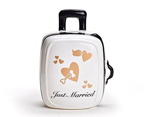 Spardose Hochzeit in 3 Varianten - Just Married Trolly aus Keramik - Süße Geschenkidee für Brautpaar - Geldgeschenk Koffer für die Flitterwochen - Weiß
