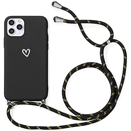 Yoedge Funda con Cuerda para Xiaomi Redmi Note 8 Pro, Carcasa con Cadena Cordón Ajustable Colgante Correa Corazón Blanco Silicona Mate AntiChoque Suave TPU Cover para Redmi Note8pro (6,53'), Negro