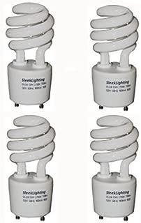 SleekLighting 13Watt T2 Spiral CFL GU24 Light Bulb Base 2700K 900lm -UL Approved,Compact Fluorescent - 4pack