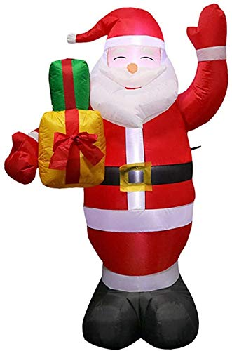 Syolin 1.5M/5ft Inflatable Christmas Santa Claus Holding Gift Box Decoration for Xmas Yard Ornaments Christmas Blow-up Santa Claus with LED Light