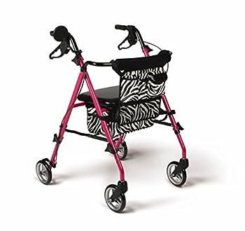Medline Posh Premium Lightweight Foldable Aluminum Rollator Walker with Wheels Water Resistant Zebra Print Bag Pink 6 Inch
