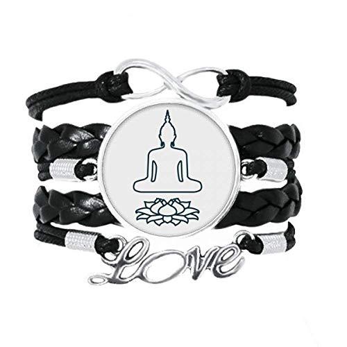 OFFbb-USA - Pulsera de meditación con trono de loto (cuero), diseño de amor, cuerda trenzada