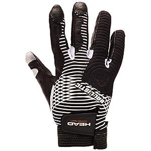 HEAD Leather Racquetball Glove Ballistic Copper Tech Glove for Right & Left Hand - Black/White, Right - Medium