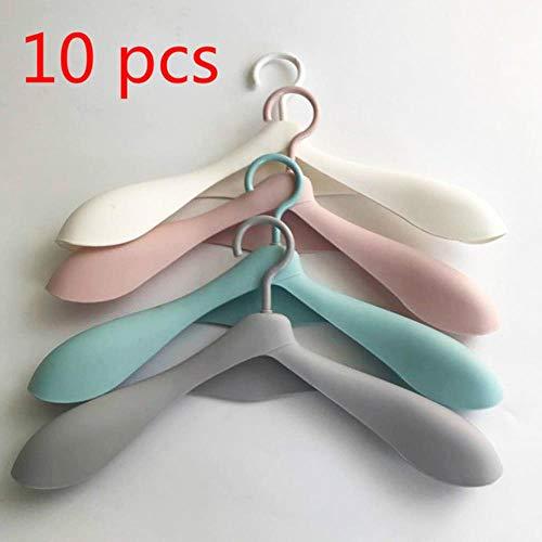 Piore 10 stks veel dikker brede schouder plastic kleerhanger garderobekast plastic sjaal kleerhangers hangers opbergrekken, 10 stks kleur mengen