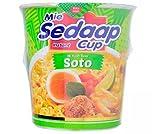 Mie Sedaap Cup Instant Noodle - Sabor Soto 81g - Sabor realmente delicioso, cocina en 3 minutos, fácil de preparar