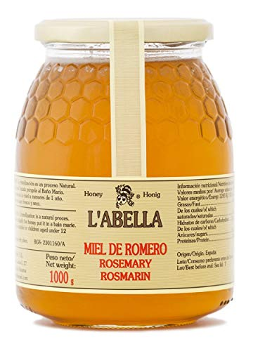 Rosmarinhonig aus Spanien - Premium Qualität - reines Naturprodukt - kaltgeschleudert - unfiltriert - leicht und würziger Geschmack - im Glas, Geschmack:Rosmarin, Größe:1000 g